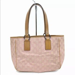 Authentic Gucci Canvas Pink Tote Bag Purse